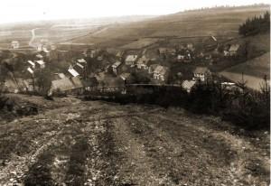 Die wohl älteste Aufnahme zeigt Obersdorf gesehen von der Trift. Die Aufnahme entstand vor der Jahrhundertwende 1899/1900. Das Haus 'Müllerheinrich' wird gerade aufgeschlagen. Vorlage: Privatbesitz