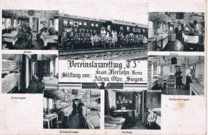 Der Vereinslazarettzug T3 auf einer Postkarte von 1916. (Vorlage: Stadtarchiv Siegen)