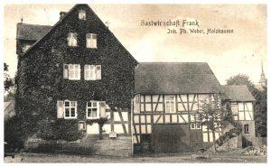 Die Gastwirtschaft Frank in Holzhausen auf einer Postkarte datiert 25. März 1919 (Stadtarchiv Siegen).